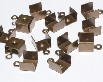 200 Pcs Antique Bronze Leather Crimps, Crimp End, 7,5x11mm , Bronze Findings , CLS4