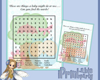 Baby Shower Printable Game Blue Owl Small WordFind