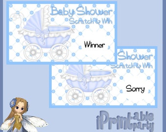 Baby Shower Printable Game Blue Carriage Scratch Cards