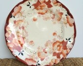 Fall decor hand painted Japanese plate orange rust black gold Japan porcelain