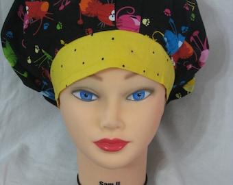 Women's bouffant scrub hat - Crazy Cats