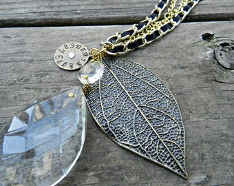 Chandelier Crystal Leaf Necklace