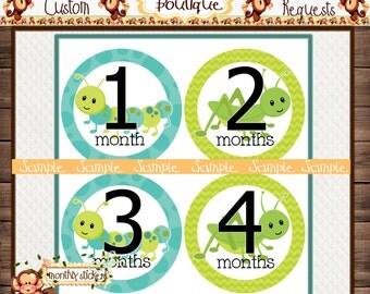 Bugs boy bugs Monthly Baby Milestone Stickers Baby Shower Gift Bodysuit Baby Stickers Monthly Baby Stickers Baby Month Sticker {M105}