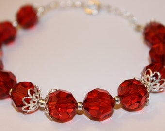 Red Glass Beaded Bracelet with Silver-Plated Caps (Item #0025B)