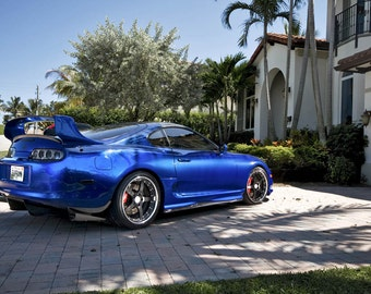 Toyota Supra Single Turbo Right Rear Blue On 360 Forged Wheels HD Poster  Print