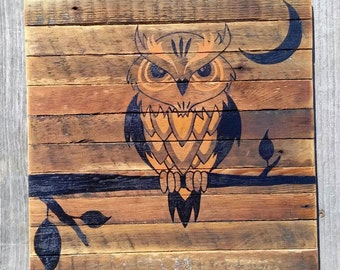 Reclaimed Wood, Owl, Halloween, Fall, Autumn, Primitive, Art