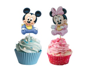 24 baby mickey and minnie cupcake/cakepop toppers