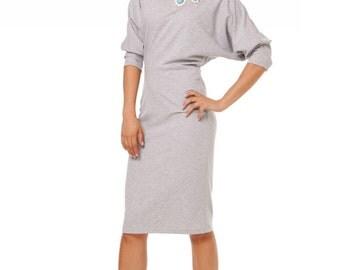 Grey Pencil Dress ,Kimono Sleeve Dress Warm .Loose Fit Jersey Dress