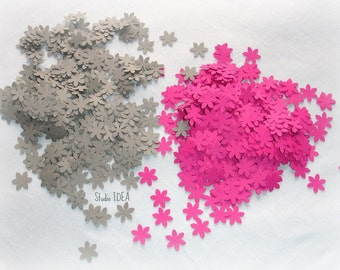 400 Grey & Hot  Pink  mini Flower Confetti, Cut-outs, or Choose your Colors- Set of 400 pcs