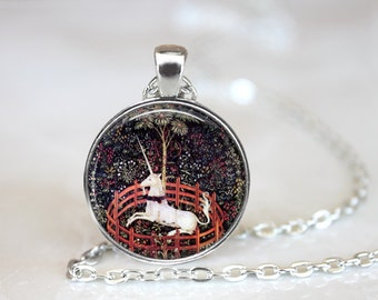 1400's Unicorn In Captivity Art Necklace, 7 Unicorn Tapestries, Renaissance Jewelry, Unicorn Necklace, Unicorn Jewelry, Unicorn Necklace