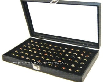 Key Lock Locking Glass Top 72 Ring Black Jewelry Sales, Display Box Storage Case