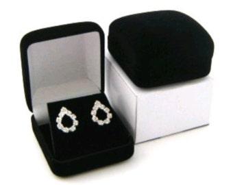 6 Black Velvet Earring Jewelry Display Gift Boxes