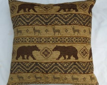"Beige brown chenille  pillow cover, hunting cabin cusion cover, 17""x17"" pillow cover"