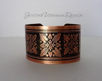 Copper Cuff Etched w/ Square Rosette Motif, Stylized, Repeat Pattern, Botanical,Woman's Bracelet