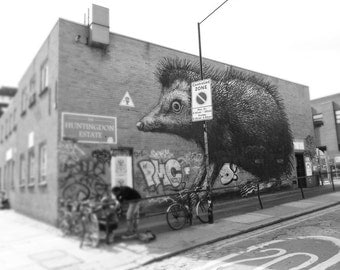 Graffiti Photography, Street Art, London Photo, black and white, Fine Art Print, Contemporary Wall Art, Urban Photography, ROA Hedgehog