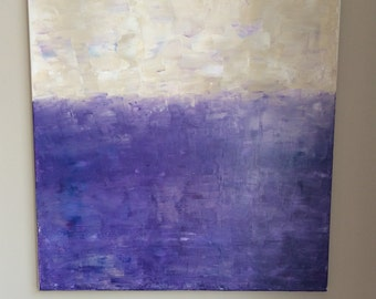 Made to order. ORIGINAL abstract wall art-Purple gradient mosaic acrylic on canvas painting-Purple, blue, unbleached titanium