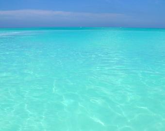 Ocean Photography - Turquoise Caribbean Sea Photo, 24x36 20x30 16x20 8x10 5x7 fine art wall decor, wall art, blue turquoise