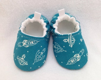 Spaceships Organic Baby Shoes, Toddler slippers, Soft Sole Baby Shoes, Baby Booties