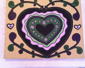 Green and purple heart painting