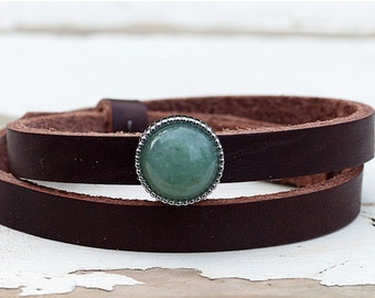 "Leather wristband ""Aventurine"""