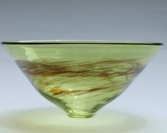 "Blown Glass Bowl, Olive Green, 4.5""high x 9.75""diameter"