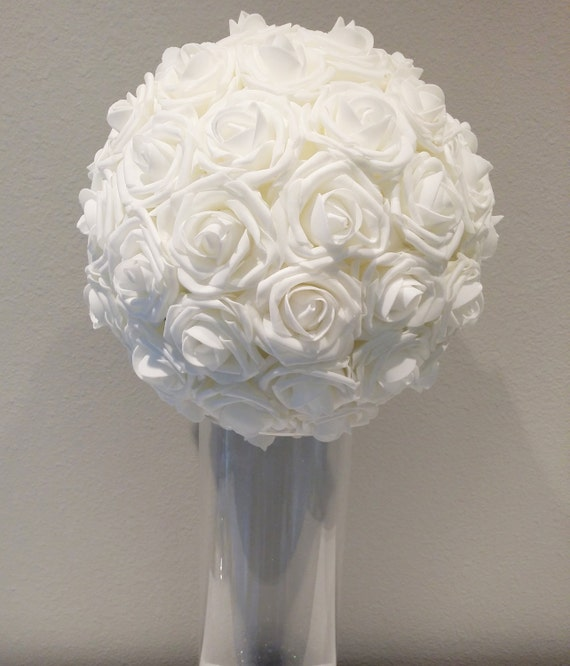 7 Inches White Flower Ball: White 10 Foam Flower Ball WEDDING CENTERPIECE By KimeeKouture