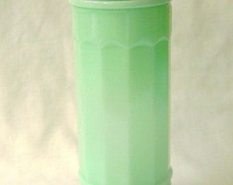 Old Fashioned Style Straw Holder in Jade Green Color Glass