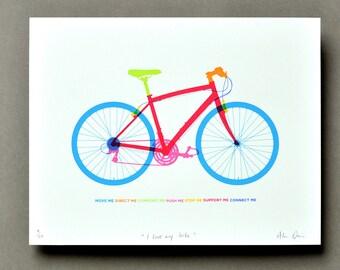 I love my bike - 7 colour screen print of bicycle