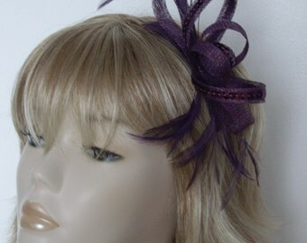 EMPEROR PURPLE FASCINATOR, Made of sinamay, with sequins, Feathers,on a comb