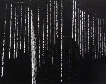 "Abstract fine art original linocut print - black and white - ""Lost III"""