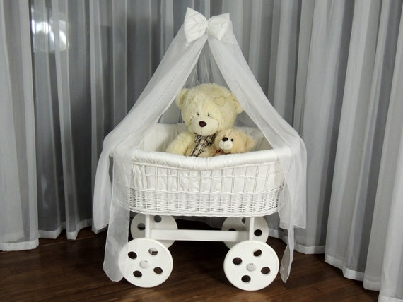 Handmade Wicker Moses Basket : Wicker babies crib cot cradle moses basket with drape by