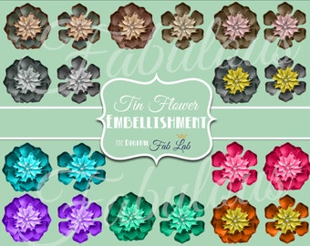 Digital Vintage Flower Brooches, Tin Flowers, Multi-color, Embellishments, Digital Clipart, Scrapbook
