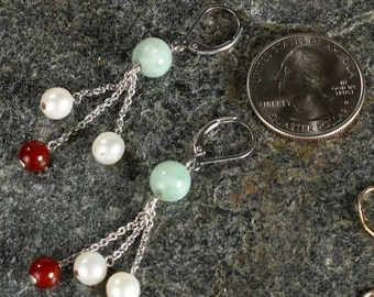 Sterling Silver Cultured Pearl, Red Agate & Green Jade Earrings,  Lever Back Earring Wires