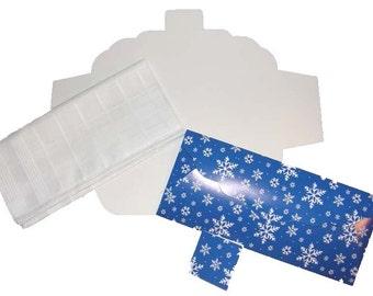 Men's Handkerchief Box Package Flat Fold Envelope Roya Snowflakes