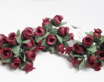 Flower Maroon Rose Small Artificial Flowers 1 set of 12  leaves silk flowers supplies bendable wire home decor wedding crafts accessories