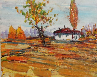 Vintage village house oil painting