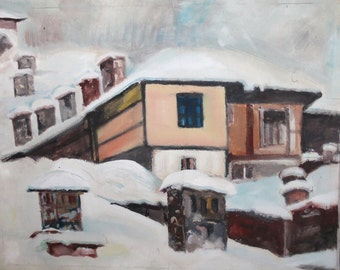 Vintage oil painting winter cityscape