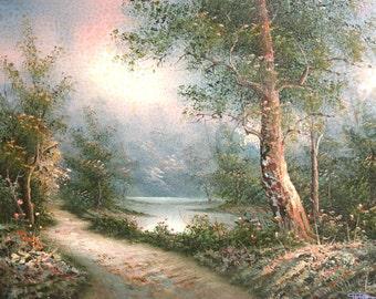 Vintage oil painting forest landscape signed