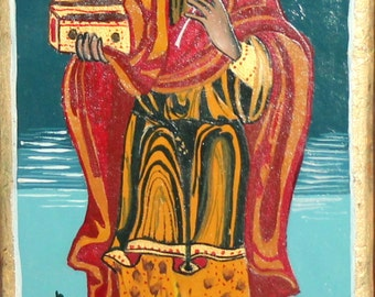 Orthodox hand painted tempera wood saint icon