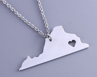 I heart Virginia Necklace - Virginia Pendant - State Charm - Map necklace - Map Jewelry