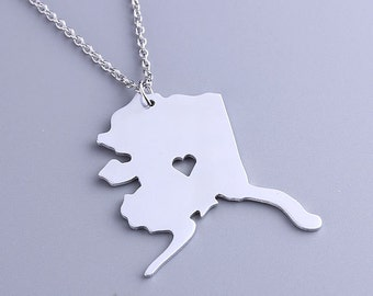 I heart Alaska Necklace - Alaska Pendant - State Charm - Map necklace - Map Jewelry