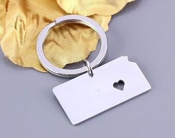I heart Kansas keychain - Kansas keyring - State Charm - Map keychain - Map Jewelry