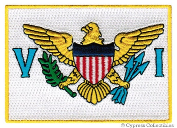 US VIRGIN ISLANDS Flag Patch iron-on embroidered applique Top