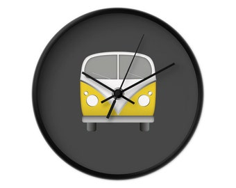 Retro camper van wall clock nursery clock kids clock children clock kid clock campervan clock yellow camper van clock nursery wall decor