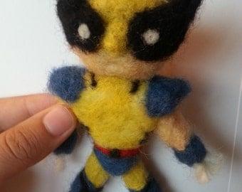 Custom needle felted plush toy figure marvel wolverine