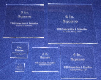 """6 Piece Square Set Quilting Templates NO SEAM - Act Size 1""""-6"""" ~ 1/4""""  Clear Acrylic 1"""", 2"""", 3""""  4"""", 5"""", 6"""""""
