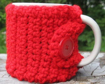 Red Crochet Mug Cozy with Button Ready to Ship