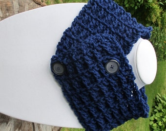 Crochet Waffle Stitch Cowl Scarf Neckwarmer With Buttons In Navy Blue Ready to Ship