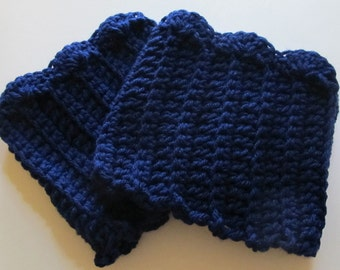 Crochet Boot Cuffs With Scallops in Navy Blue Ready to Ship