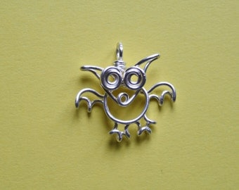 Wire Bat Pendant, Silver plated copper bat necklace